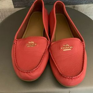 Leather Coral Colored Coach Loafers